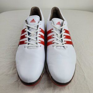 ADIDAS Gold shoes leather red and white size 15